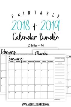 2018 & 2019 Printable Calendar Bundle! This bundle includes both 2018 and 2019 Monthly Calendars from January 2018 to December 2019. Why not save money and grab this cute printable calendar bundle? Perfect for both business planning and your personal life. 2018 2019 Calendars | Printable Calendars | Calendar Bundle | 2018 Calendar | 2019 Calendar #monthlycalendar #20182019 #printablecalendar #monthlyprintable www.michellesimpkin.com