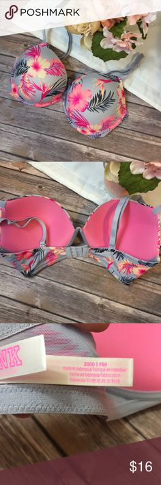 VS PINK | Tropical Push-Up Bra Size 36E(DD) Reposh: purchased and it ended up being the wrong size. When I purchased it, it was stated to be NWOT. Excellent condition! PINK Victoria's Secret Intimates & Sleepwear Bras