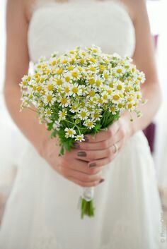 Rustic/Country/Shabby Chic/Boho Wedding Bouquet Of: White/Yellow Chamomile Daisies