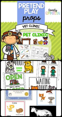 Help your preschoolers become a vet for the day!  Printables and ideas are included in this pack to make your preschool vet clinic dramatic play center one of a kind!