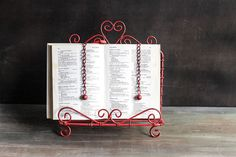 Red Metal Book Stand  $28.00 http://www.fancyflours.com/product/Red-Metal-Book-Stand/s