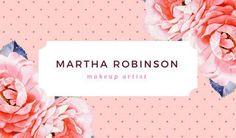 Pink Roses Makeup Artist Business Card