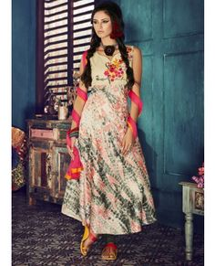 Peach And Grey Printed Cotton Silk Salwar Suit