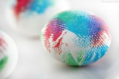 Take a modernist approach to Easter this year with these tie-dyed eggs, still showing some of the inconsistencies of the paper towel used to dye them. Blogger Frugal Momeh will show you the full steps — and don't worry, because they're so easy to make.   - HouseBeautiful.com