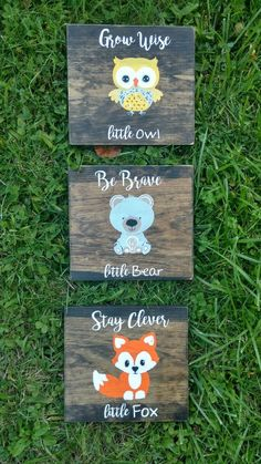 animals wall art woodland creatures set of 3 signs nursery deco clever fox wise owl brave bear Hand painted rustic wood forest animal Woodland animals wall art woodland creatures set of 3 signs nursery deco clever fox wise owl brave bear Hand nbsp hellip Woodland Creatures Nursery, Woodland Nursery Boy, Woodland Theme, Woodland Animals, Forest Animals, Fox Themed Nursery, Owl Nursery, Nursery Ideas, Room Ideas