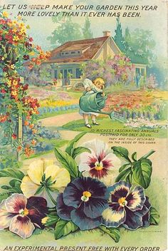 Vintage Seed Catalog- All it takes is Pansies.& Lobelia, & the required picket fence. Vintage Diy, Images Vintage, Vintage Labels, Vintage Ephemera, Vintage Pictures, Vintage Paper, Vintage Postcards, Garden Catalogs, Seed Catalogs