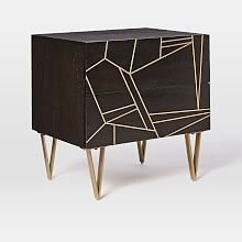 Creative firm Roar + Rabbit's blend modern style with whimsical details. We worked with them to create this Geo Inlay Nightstand. Antique brass-finished metal is inlaid into wood for a modern, luxe look with tons of geometric texture and subtle sh… Chalk Paint Furniture, Metal Furniture, Furniture Ideas, Contemporary Bedroom Furniture, Affordable Home Decor, Dresser As Nightstand, Home Accessories, West Elm, Geo