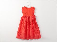 Coral Tea Length Eyelet Dress