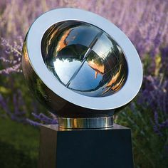 BEROSUSThe copper or stainless steel sundial is inclined to its latitude. Hour lines, hour markers and dial furniture are all hand-engraved or etched onto the inner hemisphere. A striking garden ornament.