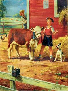 Illustration House, Inc-Calendar Illustration: Boy with Heifer