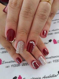 Unhas foscas, unhas vermelhas, jóias de unhas, belas unhas decoradas, u Nagellack Design, Nagellack Trends, Cute Nails, Pretty Nails, My Nails, Manicure Colors, Nail Colors, Manicure Ideas, Gel Manicure
