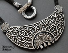 Moon necklace Statement jewelry Celtic necklace Statement necklace Black necklace Gothic necklace Polymer clay jewelry for women Gift .hab by HandmadeByAleksanta on Etsy