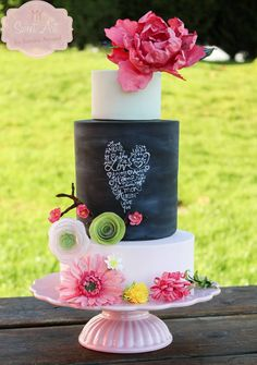 Chalkboard and floral cake