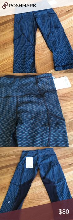 "NWT Lululemon Outrun 17"" Crop New with tags. Teal and black. Sheer black mesh panels at calves. See photo of product tag for full item description, lululemon athletica Pants Capris"