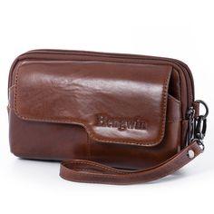 Real Leather Men's Pratical Wristlet Clutch Bag Handbag Organizer Horizontal Belt Pouch Waist Pack Wallet Purse for Cellphone