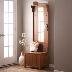 Belham Living Carlisle Mini Mission Hall Tree - Even small entryways become big-time storage spaces with the Carlisle Mini Mission Hall Tree. Crafted with ash veneers over MDF and particle board, th...