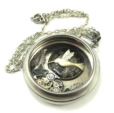 Hummingbird Pocket ,  Silver Steampunk pocket watch, Steampunk Pocket Watch Necklace, Victorian, Hummingbird, One of  A Kind. $48.00, via Etsy.