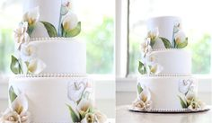 pretty 3 dimensional cakes | multi dimensional cake decorating hand painted lilies by KOs Cakes
