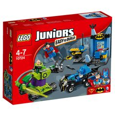 Help Batman™ and Superman™ take on Lex Luthor™ in his robotic vehicle, including the Batmobile™ and the Batcave. Features Easy to Build models and 3 minifigures.