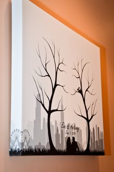 Fingerprint tree guest book canvas
