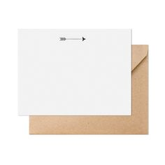 ARROW NOTESET, BLACK  $16.00  Our arrow flat note is printed with black ink on double-thick, crisp white paper. Paired with a kraft envelope. 6 cards + 6 envelopes.    dimensions: 4.25 x 5.5 inches