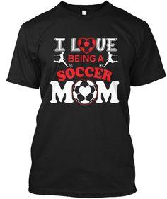 I Love Soccer Mom T Shirt  Black T-Shirt Front