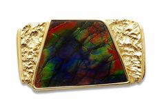 18 karat yellow gold brooch set with a vibrant ammolite, measures approximately x Part of our estate collection*. Gold Brooches, Jewels, Wallet, Collection, Jewerly, Gemstones, Purses, Fine Jewelry, Diy Wallet