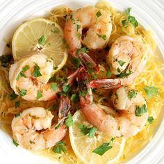 Spaghetti Squash Shrimp Scampi- healthy, delicious and low carb. This is so good!