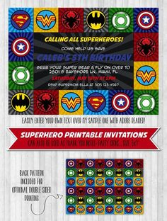 Superhero Birthday Party Invitations Unique Superhero Party Invitation In 2019 Parties Superhero Party Invitations, Boy Birthday Invitations, Birthday Invitation Templates, Invites, Avengers Birthday, Superhero Birthday Party, 4th Birthday, Free Birthday, All Superheroes