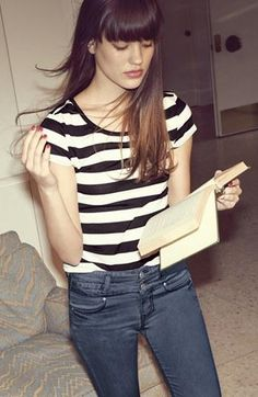 Fall Style: Stripe tee, denim, & a great book to dig into.
