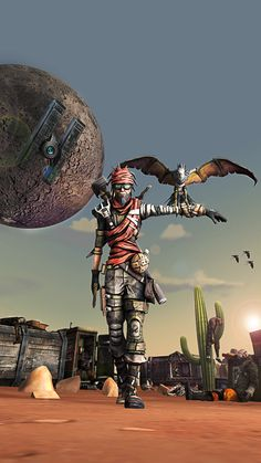Mordecai by PrincessBloodyMary Borderlands postapocalypse desert scavenger fighter thief rogue assassin armor clothes clothing fashion player character npc | Create your own roleplaying game material w/ RPG Bard: www.rpgbard.com | Writing inspiration for Dungeons and Dragons DND D&D Pathfinder PFRPG Warhammer 40k Star Wars Shadowrun Call of Cthulhu Lord of the Rings LoTR + d20 fantasy science fiction scifi horror design | Not Trusty Sword art: click artwork for source