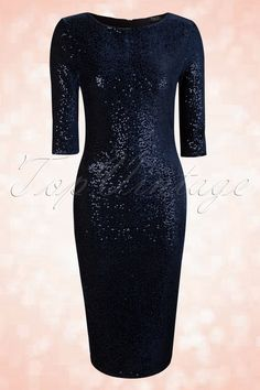 50s Twinkle Sequin Pencil Dress in Navy