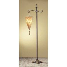 A Matching Pair Of Moroccan Style Spiral Hanging Cone Shaped Cloth Tan Shade Desk Table Lamp
