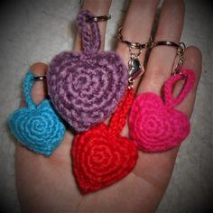 Amigurumi Heart Key-chains Free pattern used: http://www.amigurumitogo.com/2015/02/Valentine-Teddy-Bear-Pattern-Free.html