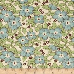 Denyse Schmidt Hadley Old Fashioned Floral Hydrangea from @fabricdotcom  Designed by Denyse Schmidt for Free Spirit, this cotton print is perfect for quilting, apparel and home decor accents.  Colors include cream, dark brown, green and shades of blue.