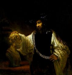 Aristotle Contemplating a Bust of Homer, Rembrandt van Rijn, 1653 This wonderful work was commissioned by a noble from Sicily and Rembrandt probably executed it to relieve his sever financial straits of his later life. Aristotle is portrayed at the height of his physical and financial success. He is sporting a magnificant chain, the gift from Aristotle's most prestigious pupil, Alexander the Great.