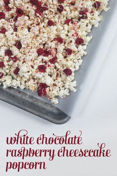 White Chocolate Raspberry Cheesecake Popcorn // @FeastandWest