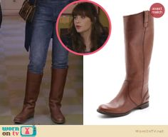 Jess's tan boots on New Girl. Outfit Details: http://wornontv.net/23352 #NewGirl