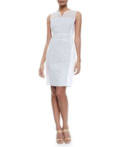 Anya+Sleeveless+Whitened+Tweed+Dress+by+Elie+Tahari+at+Bergdorf+Goodman. White is the best summer color.