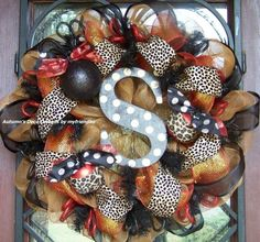 Fall Animal Leopard Print Deco Mesh Wreath by lindsay0