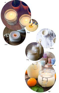 DIY et tutos pour se fabriquer une bougie parfumée avec des la cire d'abeille ou de soja, avec les recommandations d'usage dès qu'il s'agit de l'emploi des huiles essentielles !                                                                                                                                                                                 Plus