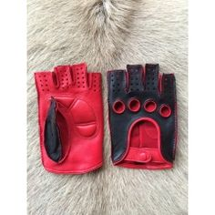 Bicolored women's fingerless leather gloves
