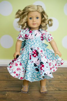 Violette's Swirly Peasant Dress 15 and 18 inch dolls | YouCanMakeThis.com