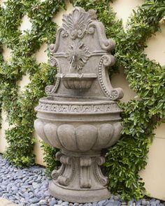 espalier and fountain Outdoor Wall Fountains, Patio Fountain, Garden Water Fountains, Fountain Design, Garden Sink, Garden Art, Outdoor Landscaping, Outdoor Decor, Garden Statues