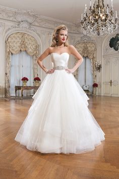 Style 8779 Tulle and silk dupion #ballgown featuring a strapless neckline @jabridal
