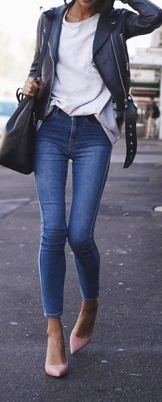casual spring outfit leather jacket top jeans