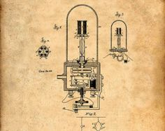 This is a print of the patent drawing for a Nikola Tesla Transformer patent in 1888. The original patent has been cleaned up and enhanced to create an attractive display piece for your home or office. This is a great way to put your interests and hobbies on display. Wonderful gift idea as well.  The image is printed on professional, acid free, archival matte fine art paper giving the image rich and vibrant colors. Prints are packaged in acid-free, moisture resistant sleeves, and shipped in…