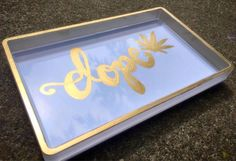 White and Gold Rolling Tray | weed accessories | rolling tray | trinket tray | gift for pothead