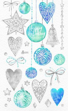 Happy Holiday Blue & Silver. 33 Watercolor by OctopusArtis on Etsy
