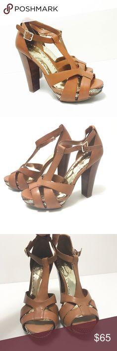 "BCBG GIRLS SLIM Heels Platforms Shoes BCBGGirls SLIM Heels Platforms Shoes 8.5 Tan/brown leather upper 5"" heel 1.5"" platform stunning  has deeper tan spot on bottom of shoe Never worn GORGEOUS BCBGirls Shoes Platforms"